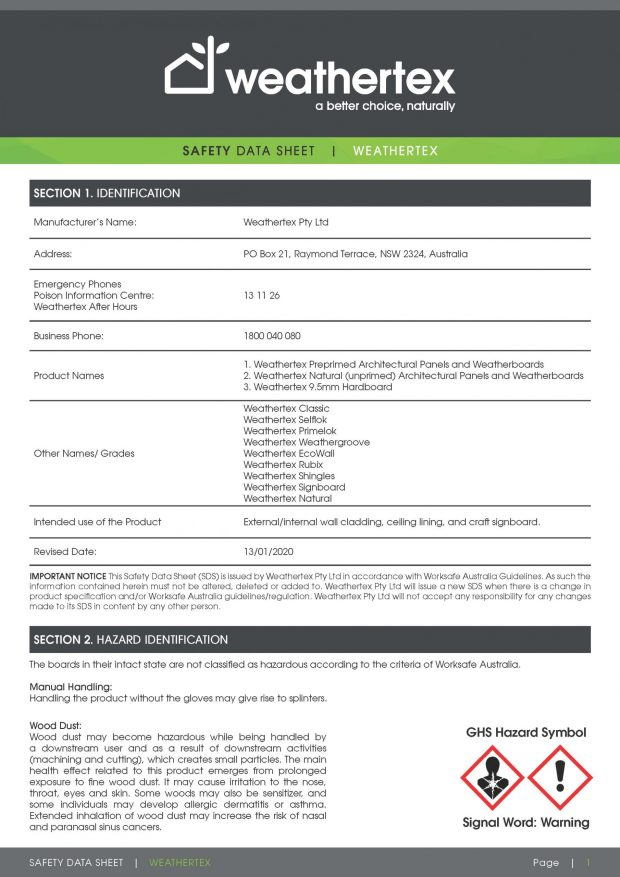 SDS_safety data sheet_9.5mm (WEATHERTEX)_2020_Page_1